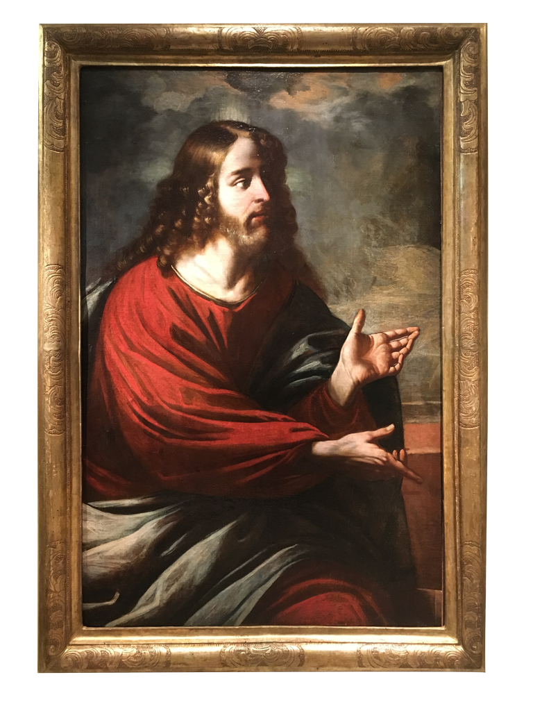 Painting representing Christ Preaching- 17th century Italian School La Credence antique dealer Paris