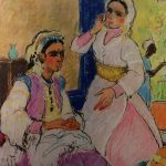 Painting Algerian Women in an Interior, Pastel circa 1925, French School