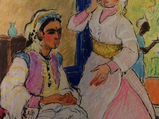 Painting Algerian Women in an Interior Pastel circa 1925, French School antique store La Credence Paris