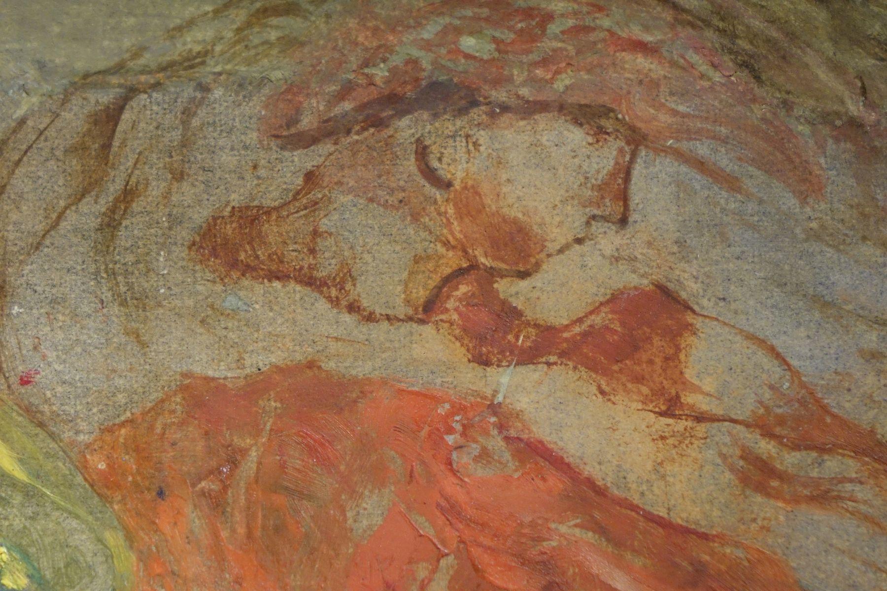Painting Judith Beheading Holofernes, Oil on Paper antique store la credence paris