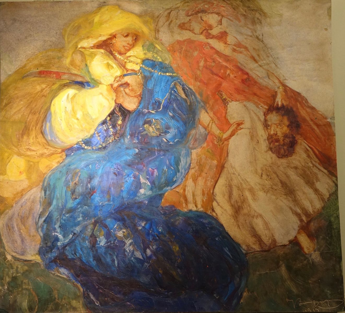 Judith Beheading Holofernes Oil on Paper Dated 1919 la credence antique store paris