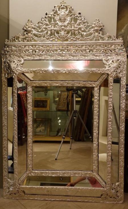 Miroir Argenté Antiquités la Crédence Antiquaire Paris