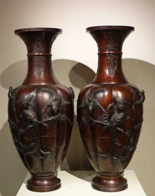 Objets D Art- Paire De Vases Japon En Bronze-la Credence Antiquaire A Paris