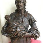 Grand buste en bois de chêne - Christ et Enfant