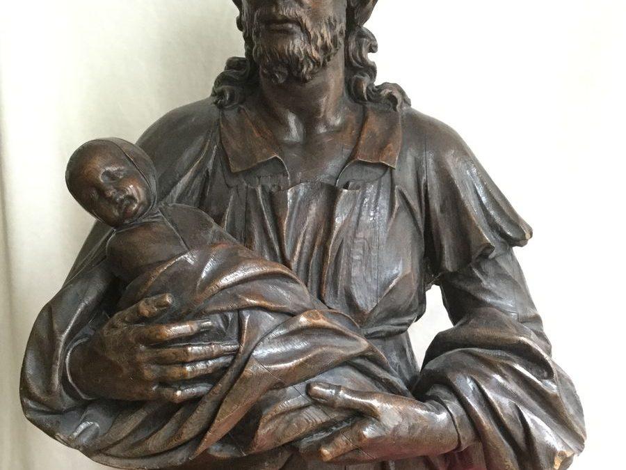 Sculpture de Buste en chêne du Christ Antiquités la Crédence Antiquaire Paris