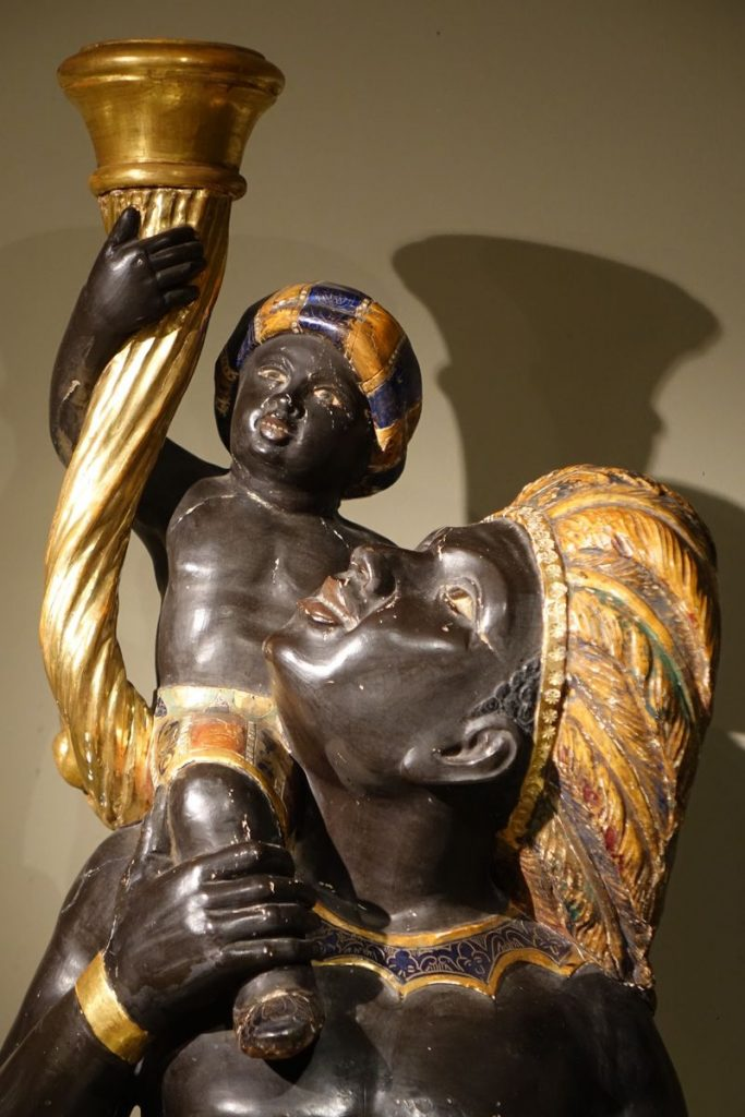Pair of Sculpted Wooden Torchbearers 19th C Venice