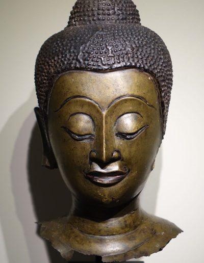 Tête de Bouddha en bronze Ayyuthaya 17ème siècle