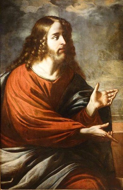 TABLEAUX -Christ huile sur toile 03978-Antiquites La Credence antiquaire a Paris