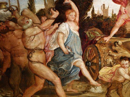 Painting Bacchus and Ariadne, Oil on Panel, Flemish School, 16th Century antiques la credence parisla credence paris.JPG