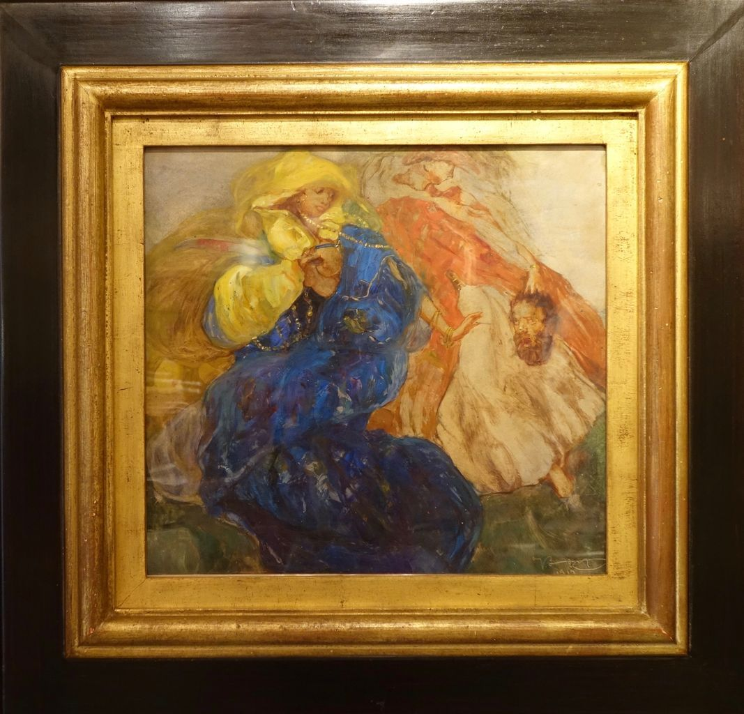 Painting Judith Beheading Holofernes, Oil on Paper antique store la credence paris