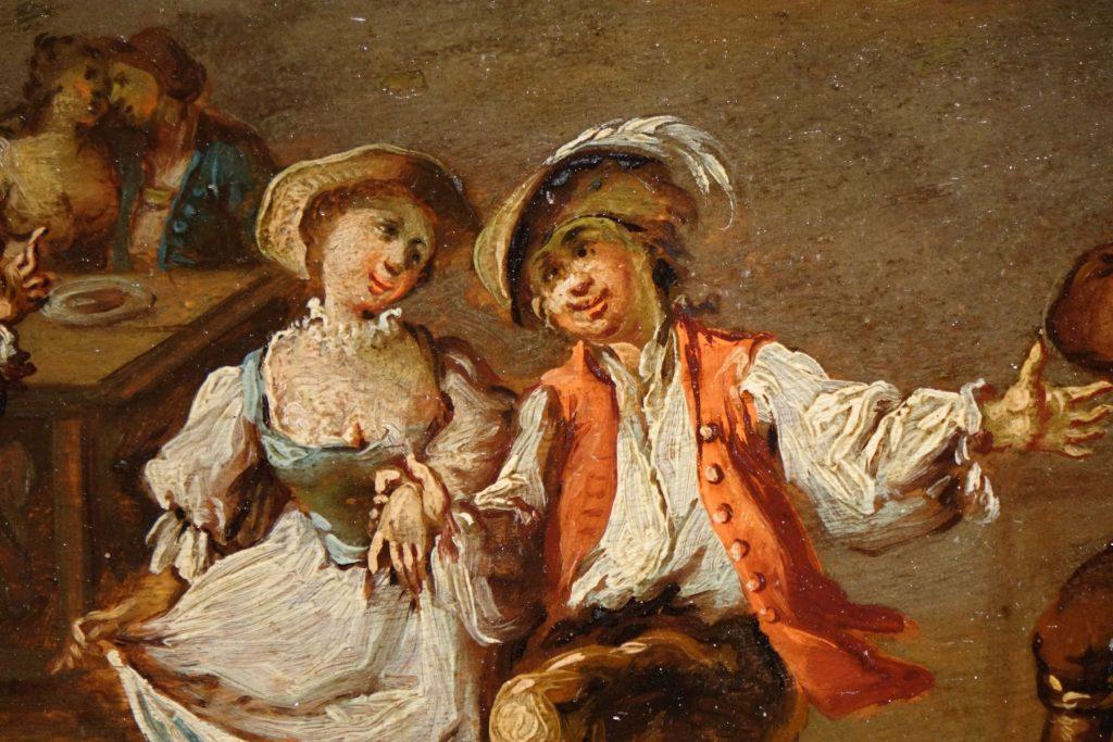 Tableau de couples dansant dans une auberge Antiquités La Crédence Antiquaires à Paris