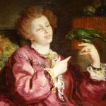 Painting signed V.de Bornschlegel Young Woman playing with her parrot