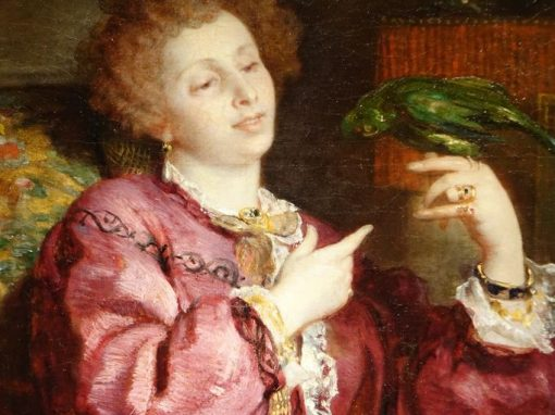 Painting Young woman playing with her parrot  signed V. de Bornschlegel  antique store la credence paris