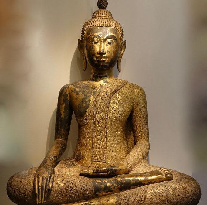 Bouddha thai bronze laque et dore -05186_antiquites la credence paris