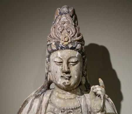 GUANYIN BOIS POLYCHROME -03805_antiquites la credence paris