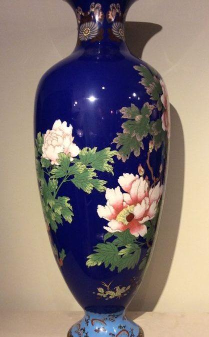 Grand Vase Cloisonne Fleurs La Credence Antiquaire A Paris