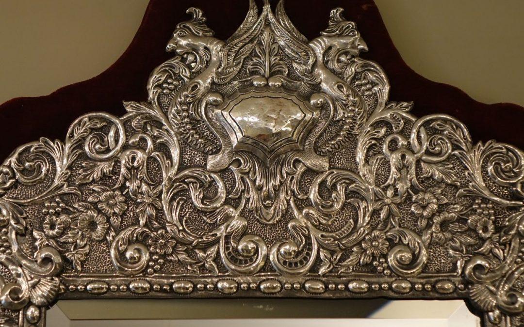 Miroir néo-Renaissance en métal argenté fin XIXe siècle -00925_antiquites la credence paris
