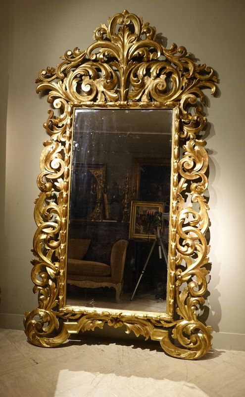 Mobilier- Grand Mirroir Italien Bois Sculpté Et Doré -la Credence Antiquaire A Paris