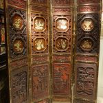 Four-Panel Lacquered Screen China Circa 1900