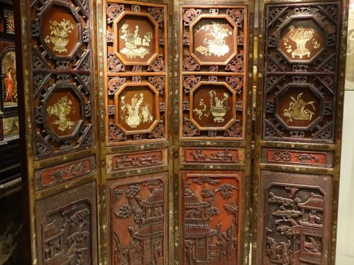 Furniture Four-Panel  Lacquered Screen China Circa 1900 antique store la credence paris