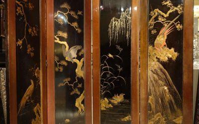 Mobilier Paravent en laque à quatre feuilles, Japon vers 1870