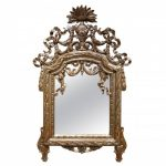 18th century Mirror in carved wood and silver plated wood