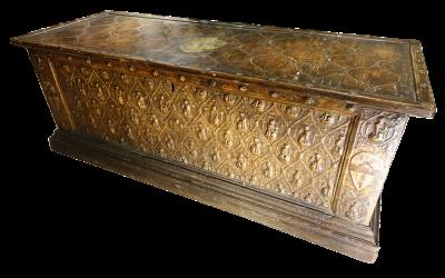 Mobilier Grande cassone de mariage en pastiglia, Italie XVe siècle
