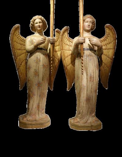 Sculpture Paire d'anges céroféraires  Italie fin du XIVe siècle