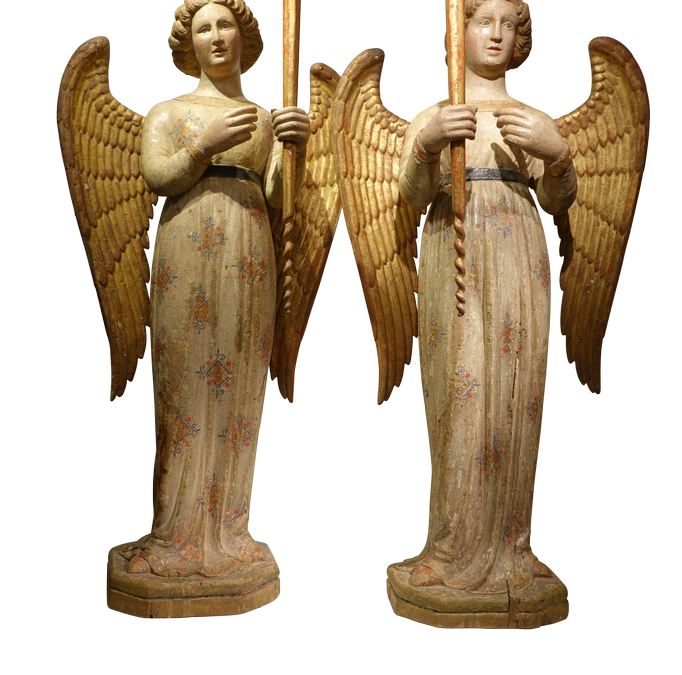 Paire d anges 14e siecle Sienne 15 antiquites la credence paris