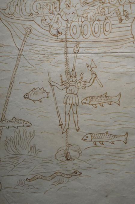 tableaux Dessin au lavis de sépia pêche au scaphandrier XVe siècle 8 antiquites la credence paris