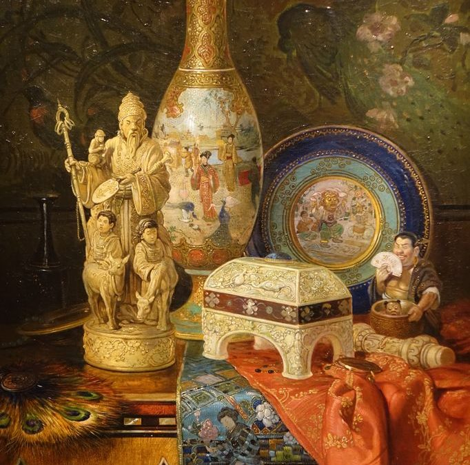 TABLEAU NATURE MORTE AUX CHINOISERIES