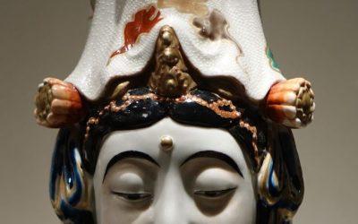 Statue de Kannon en porcelaine de Kutani, Japon