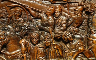17th Century Wood Panel Sculpture in Low Relief