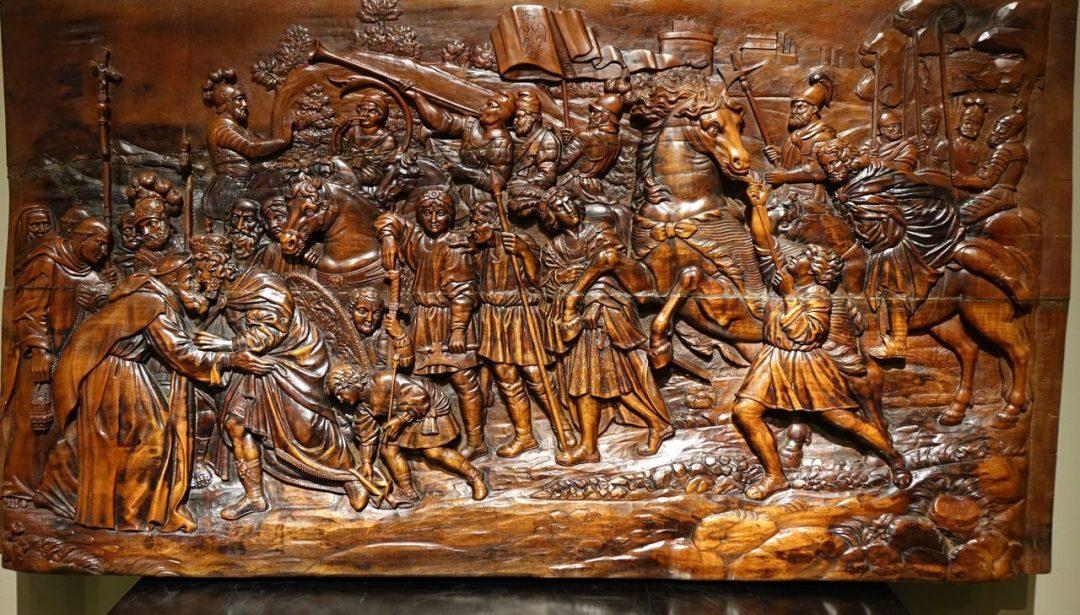 Panneau en bois sculpté XVIIe s
