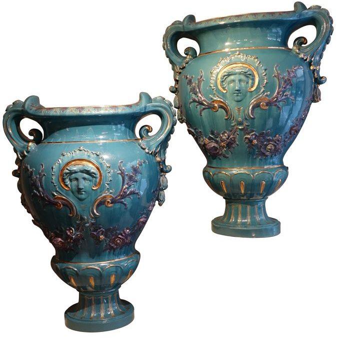Paire de grands vases medecis faience de saint clément
