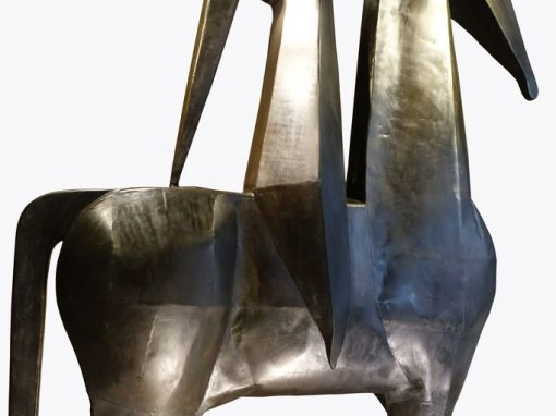 Monumental sculpture in iron, rider on a horse, signed AMBROSIO ,1967  antique store la credence paris