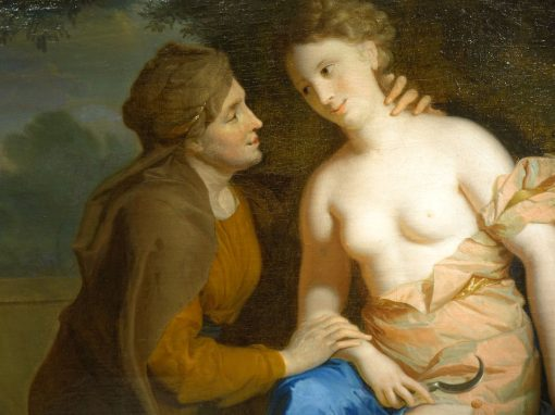 Vertumne and Pomone oil on canvas attributed to F.A. VERDIER,circa 1700