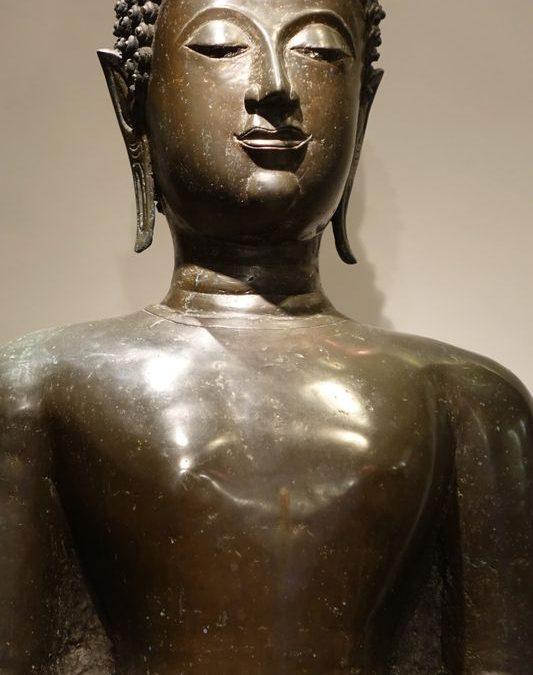 Sculpture Grand Bouddha Debout Thailande La Credence Antiquaire A Paris 11