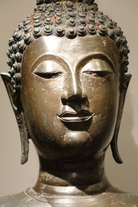 Sculpture Grand Bouddha Debout Thailande La Credence Antiquaire A Paris 11