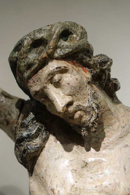 Sculpture Christ Bois Peint 18e Siecle La Credence Antiquaire A Paris