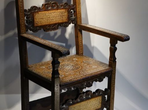 "Furniture Large walnut armchair with "" a certosina"" ornamentation, Italy, circa 1830 la credence antique dealer in paris"