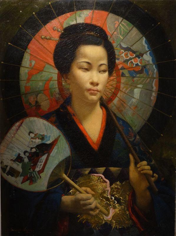 Tableaux Portrait Japonaise Francois Lafon 1875 4 La Credence Antiquaire A Paris