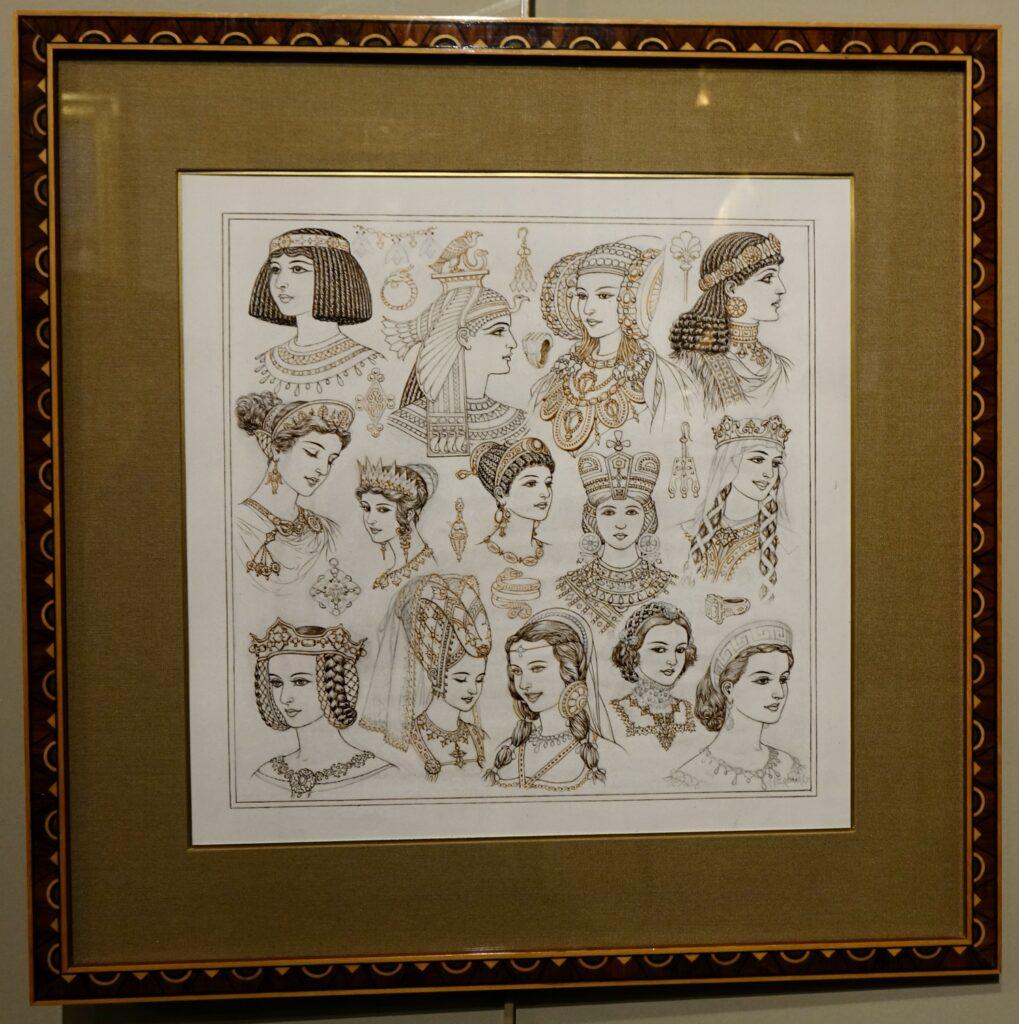 A portrait set of queens signed Cheri Herouard Circa 1925