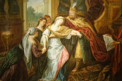 Tableau Evanouissement d'Esther Antiquités La Crédence Antiquaires à Paris