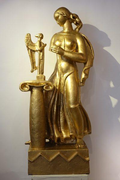 sculpture Gilt terracotta A. Bizette-Lindet ( 1906-1998) la credence antiques  paris