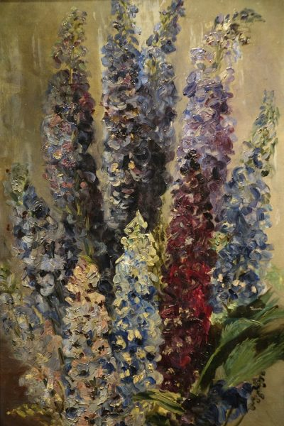 Bunch of Lupine flowers , oil on canvas 19th century la credence antiques paris