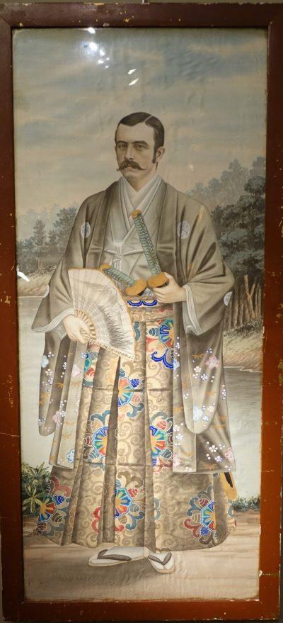 Full-length portrait of a Westerner in samurai dress, circa 1890.la credence antique store paris