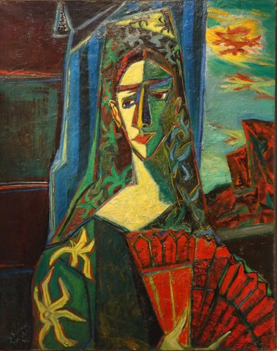 Spanish girl with a fan - Gabriel ZENDEL (1906-1992) la credence antiques paris