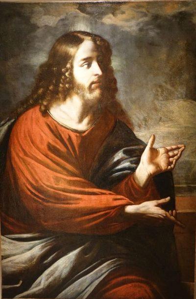 Tableau du Christ huile sur toile Antiquités La Crédence Antiquaire à Paris