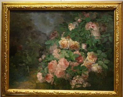 Bush of roses signed Morel-buffard (?), 1902